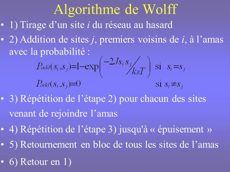 Algorithme de Wolff 1) Tirage d'un site i du réseau au hasard