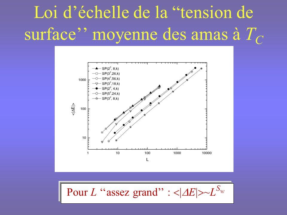 Loi d'échelle de la tension de surface'' moyenne des amas à TC