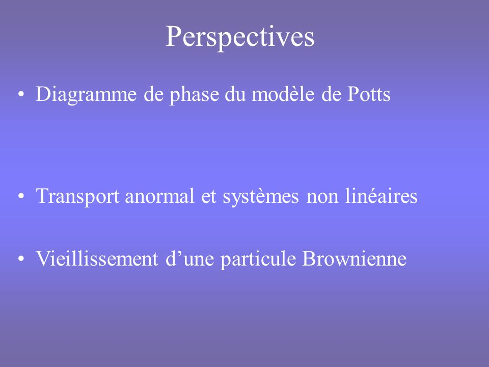 Perspectives Diagramme de phase du modèle de Potts
