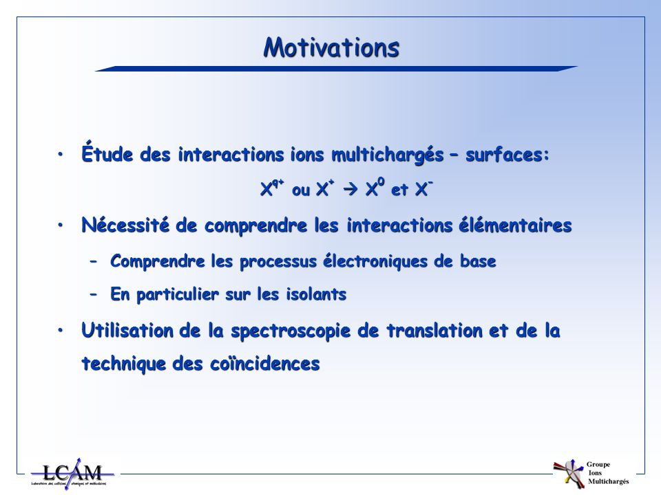 Motivations Étude des interactions ions multichargés – surfaces: