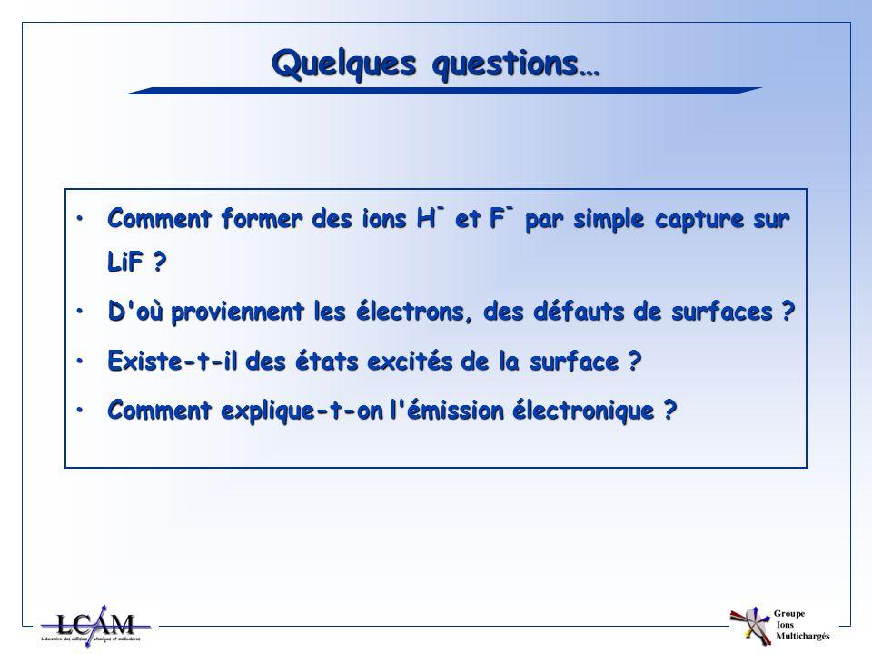 Quelques questions… Comment former des ions H- et F- par simple capture sur LiF D où proviennent les électrons, des défauts de surfaces