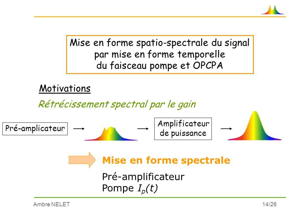 Mise en forme spatio-spectrale du signal par mise en forme temporelle