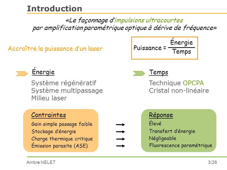Introduction «Le façonnage d'impulsions ultracourtes
