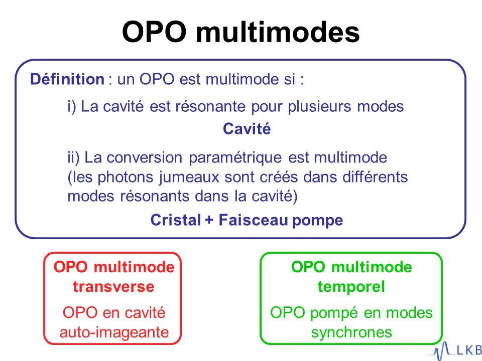 OPO multimodes Définition : un OPO est multimode si :
