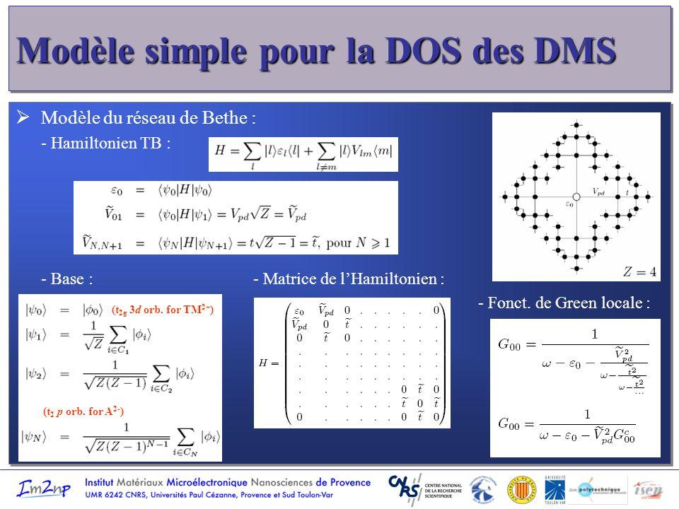 Modèle simple pour la DOS des DMS