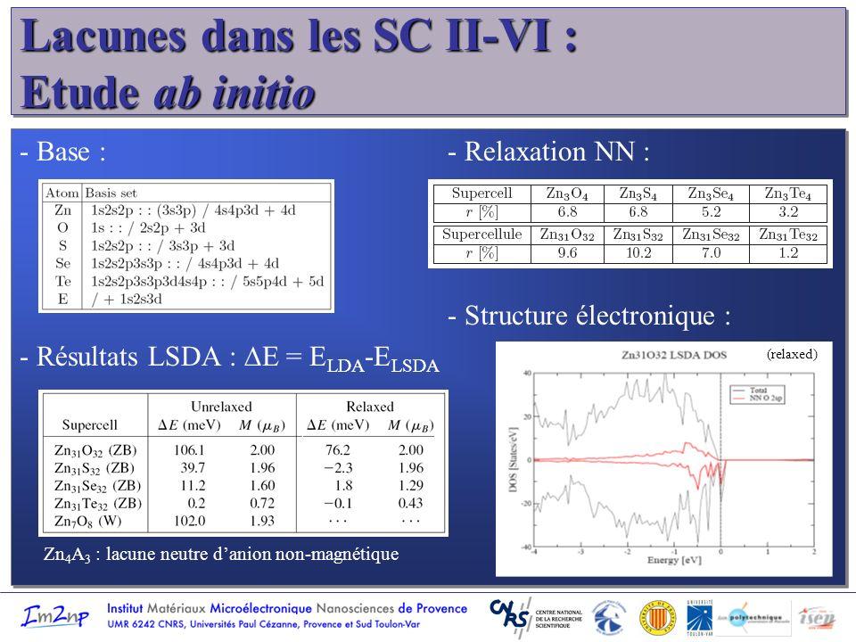 Lacunes dans les SC II-VI : Etude ab initio