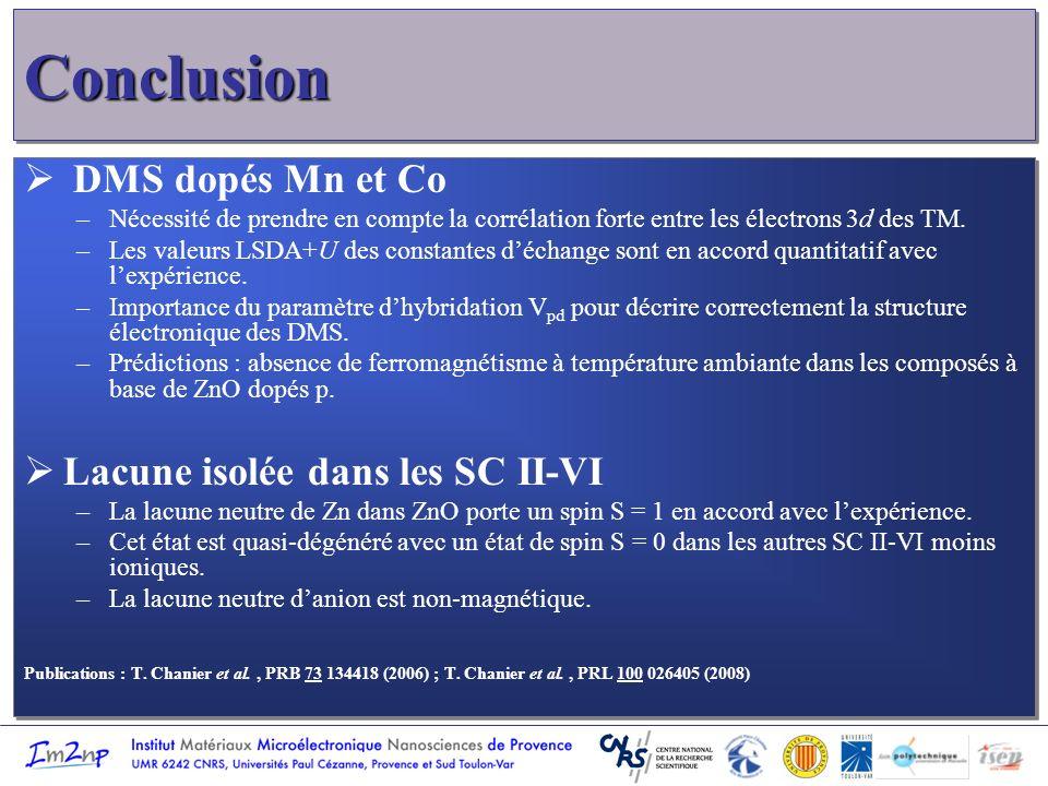 Conclusion DMS dopés Mn et Co Lacune isolée dans les SC II-VI