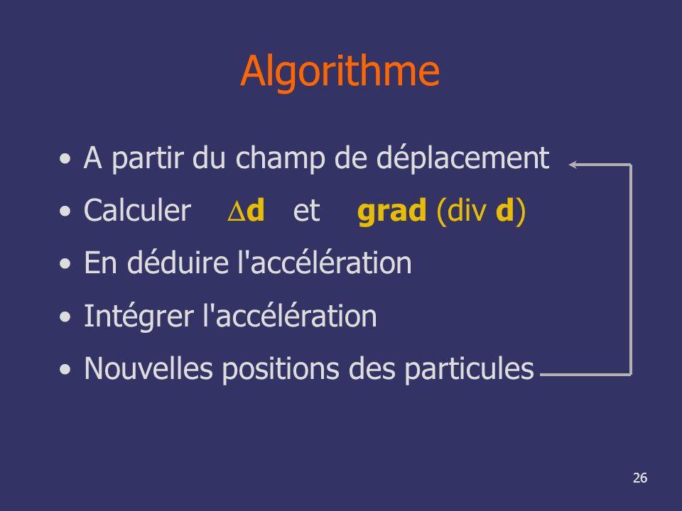Algorithme A partir du champ de déplacement