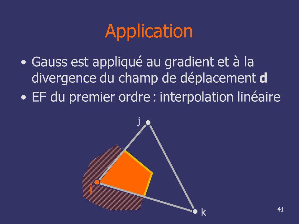 ApplicationGauss est appliqué au gradient et à la divergence du champ de déplacement d. EF du premier ordre : interpolation linéaire.