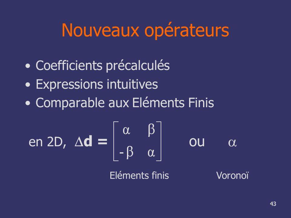 Nouveaux opérateurs Coefficients précalculés Expressions intuitives
