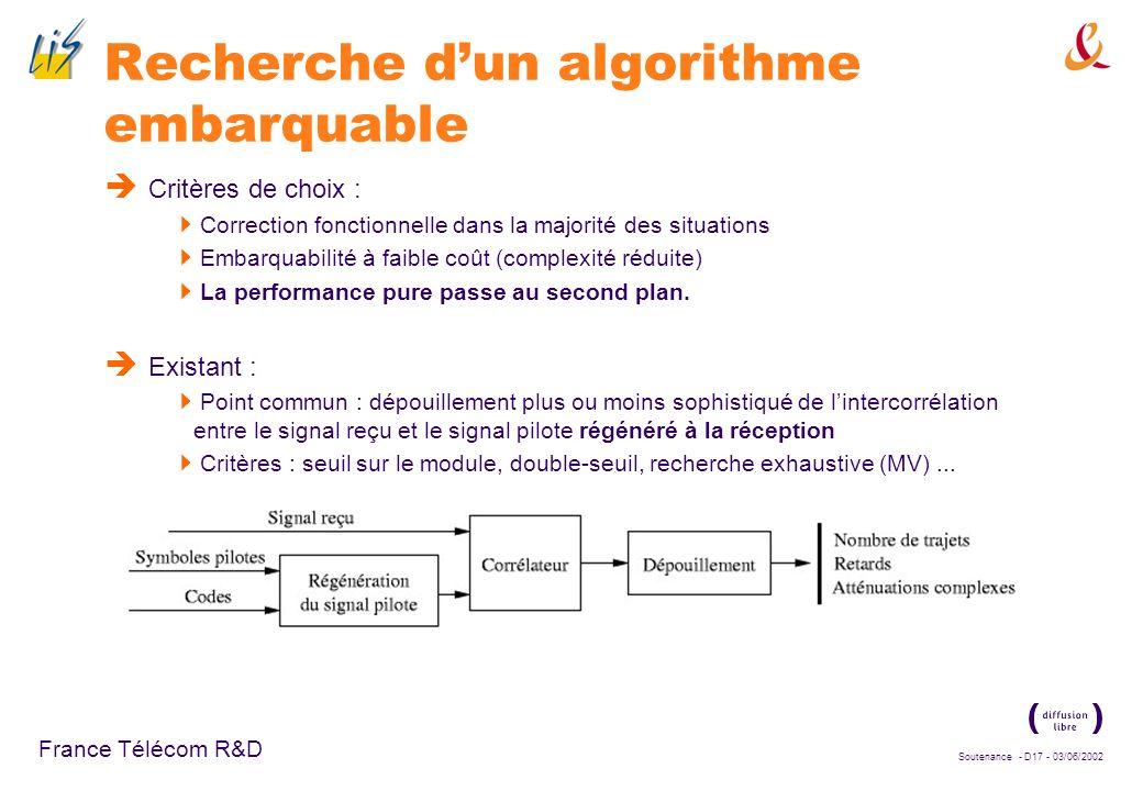 Recherche d'un algorithme embarquable