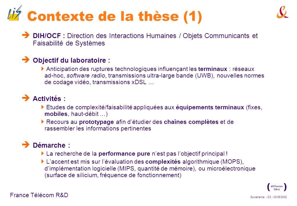 Contexte de la thèse (1) DIH/OCF : Direction des Interactions Humaines / Objets Communicants et Faisabilité de Systèmes.