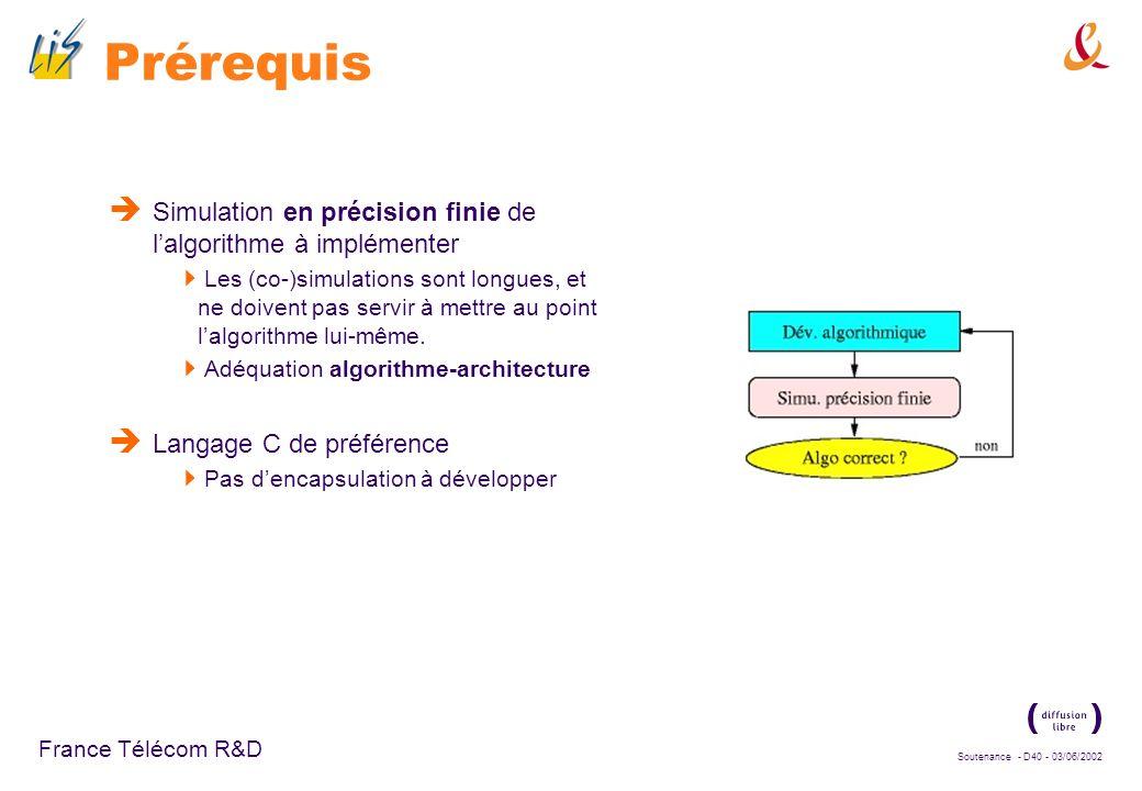 Prérequis Simulation en précision finie de l'algorithme à implémenter