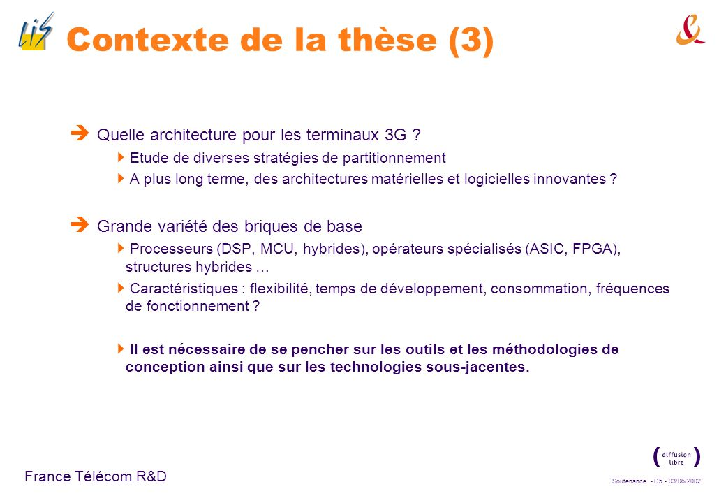 Contexte de la thèse (3) Quelle architecture pour les terminaux 3G