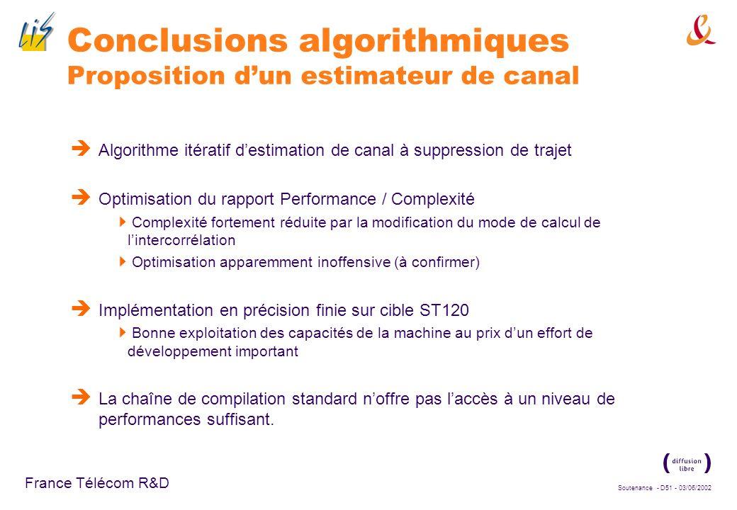 Conclusions algorithmiques Proposition d'un estimateur de canal