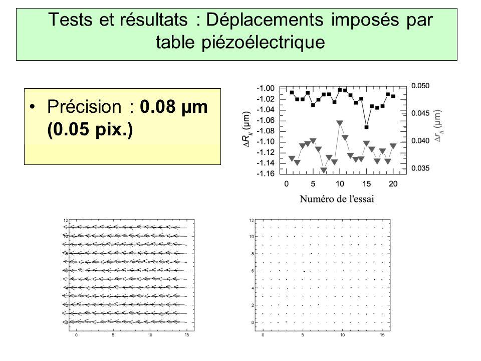Tests et résultats : Déplacements imposés par table piézoélectrique