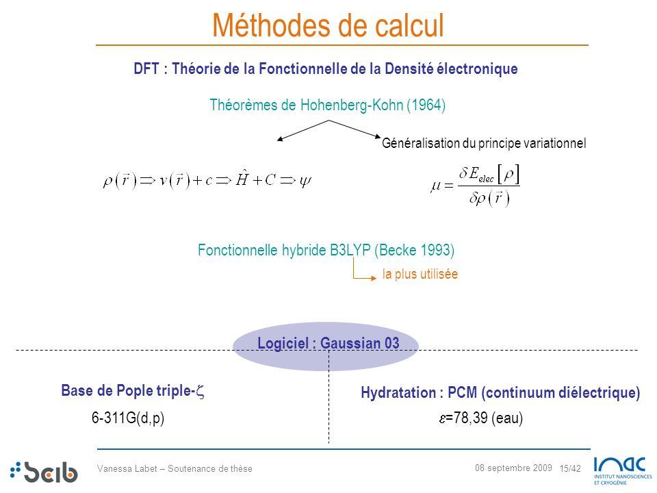 Méthodes de calculDFT : Théorie de la Fonctionnelle de la Densité électronique. Théorèmes de Hohenberg-Kohn (1964)
