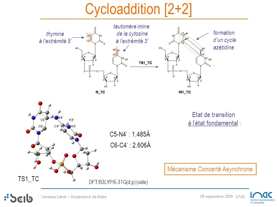 Cycloaddition [2+2] Etat de transition à l'état fondamental :