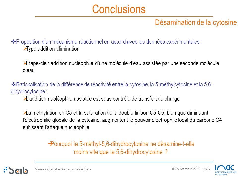 Conclusions Désamination de la cytosine