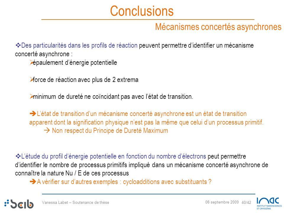 Conclusions Mécanismes concertés asynchrones