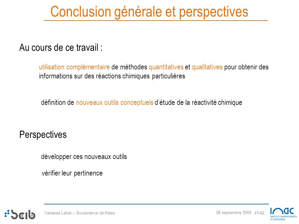 Conclusion générale et perspectives