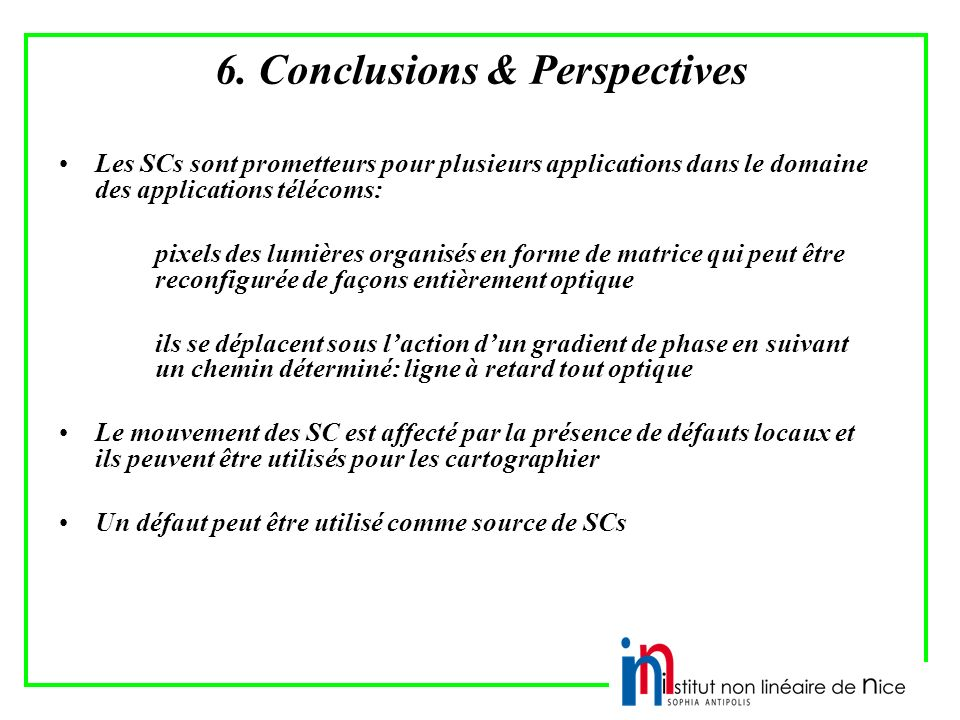 6. Conclusions & Perspectives