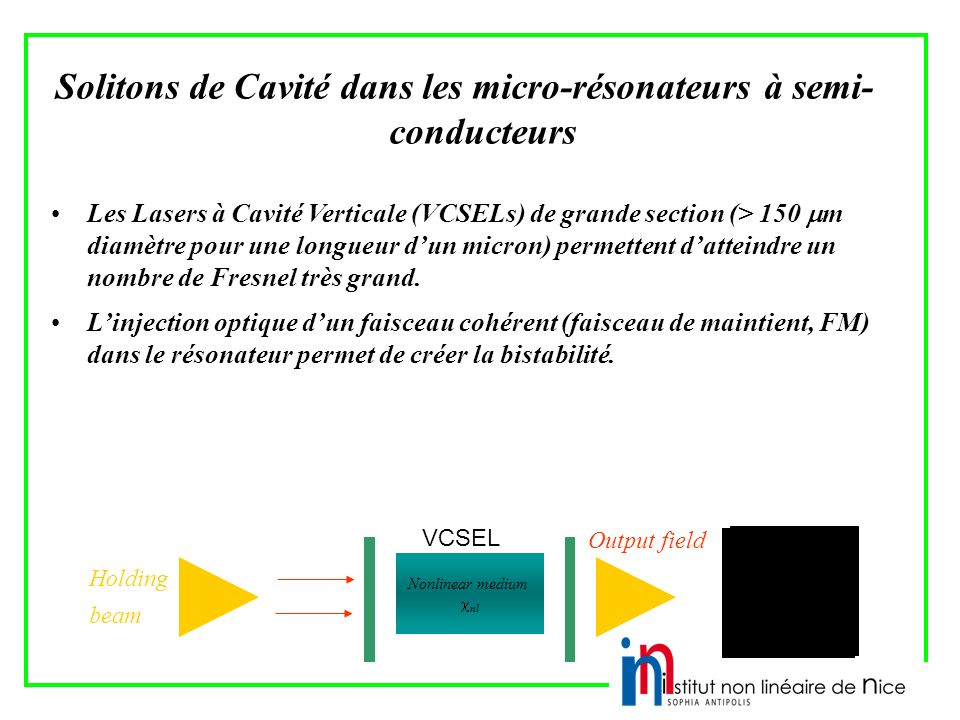 Solitons de Cavité dans les micro-résonateurs à semi-conducteurs