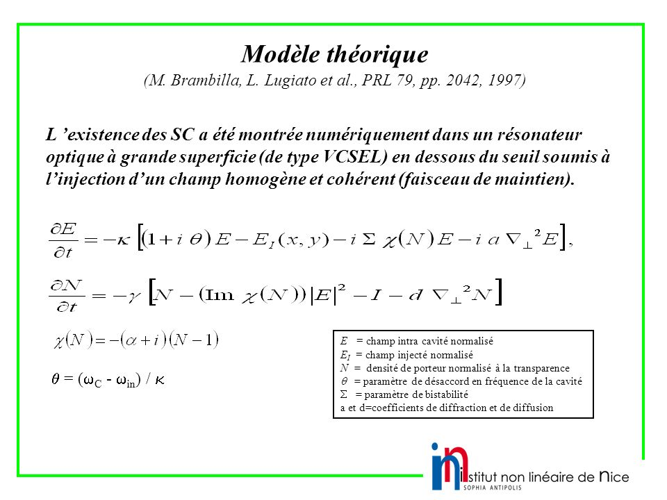 (M. Brambilla, L. Lugiato et al., PRL 79, pp. 2042, 1997)