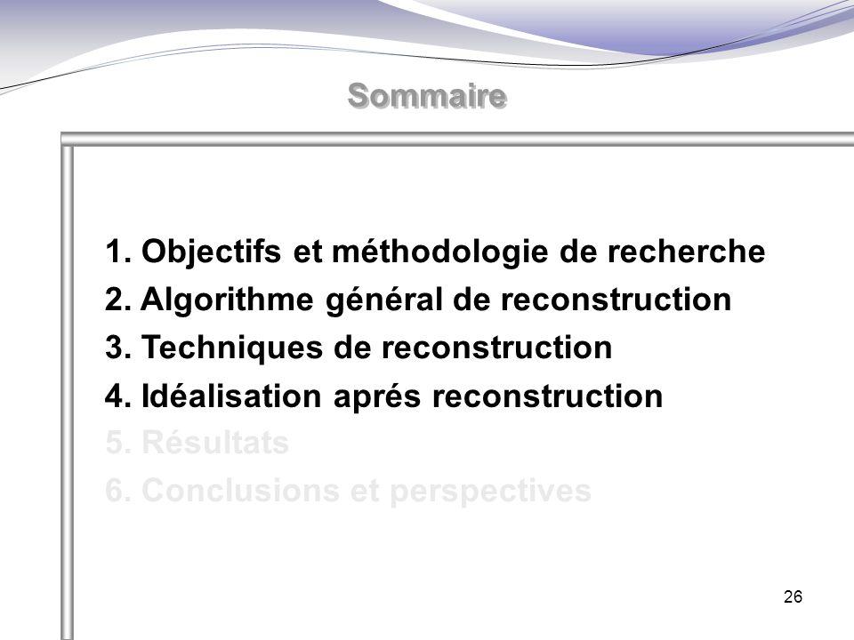 Sommaire 1. Objectifs et méthodologie de recherche. 2. Algorithme général de reconstruction. 3. Techniques de reconstruction.