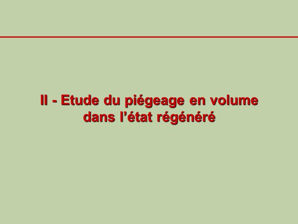 II - Etude du piégeage en volume dans l'état régénéré