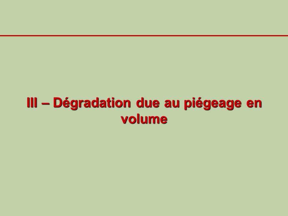 III – Dégradation due au piégeage en volume