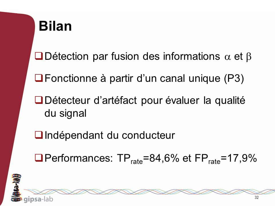 Bilan Détection par fusion des informations a et b