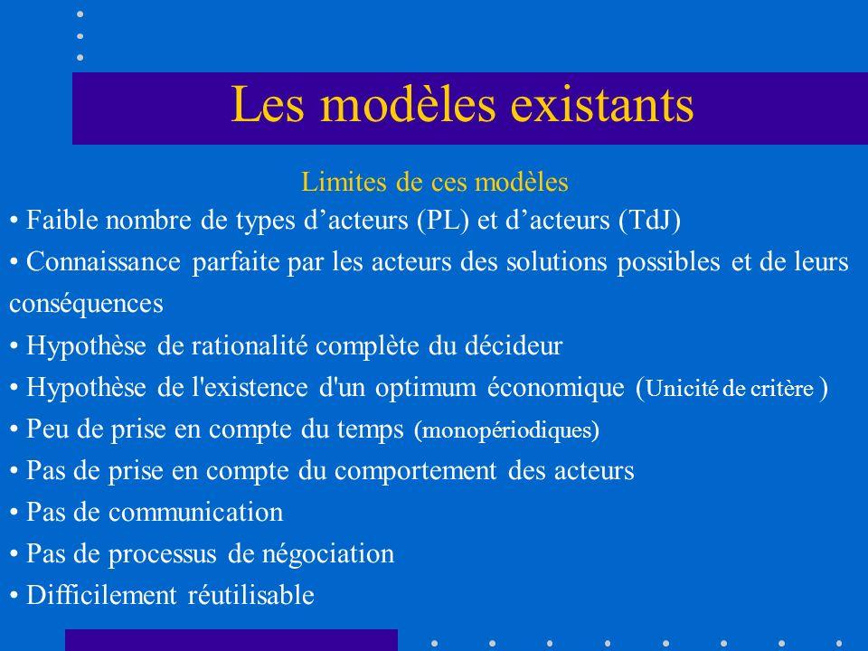 Les modèles existants Limites de ces modèles
