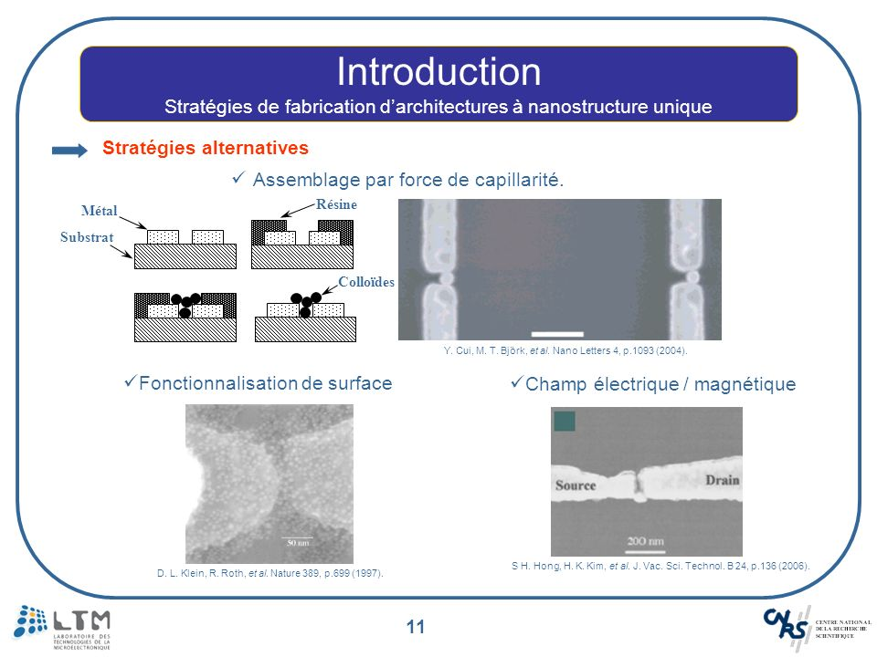Stratégies de fabrication d'architectures à nanostructure unique
