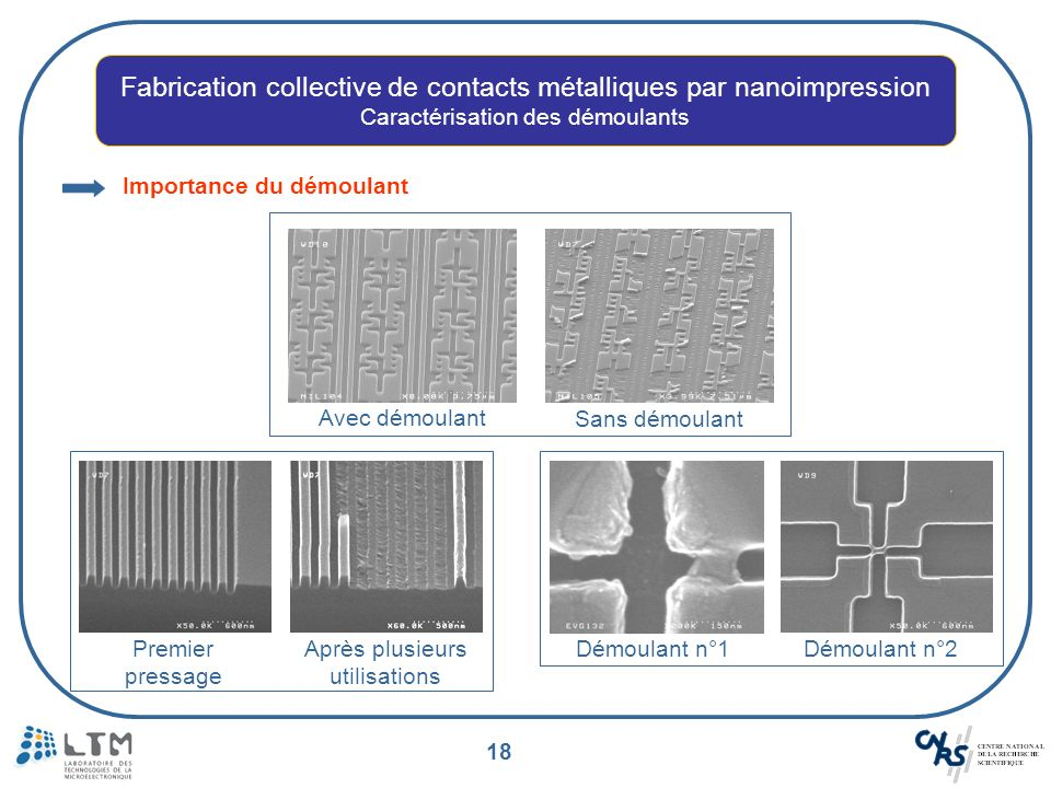 Fabrication collective de contacts métalliques par nanoimpression