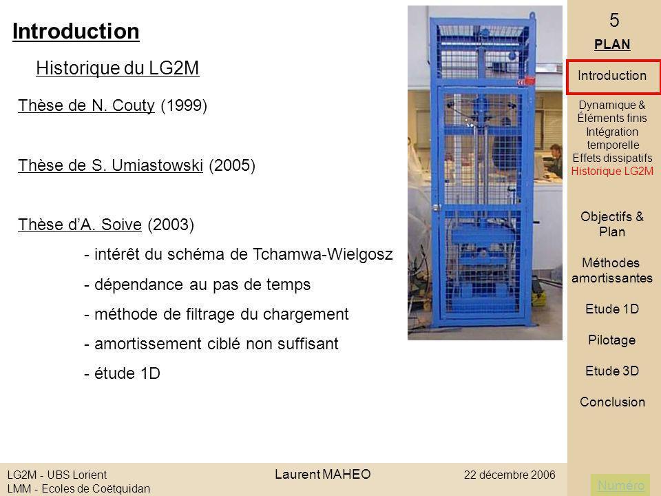 Introduction Historique du LG2M Thèse de N. Couty (1999)