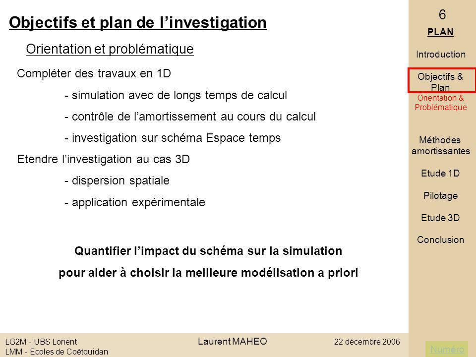 Objectifs et plan de l'investigation