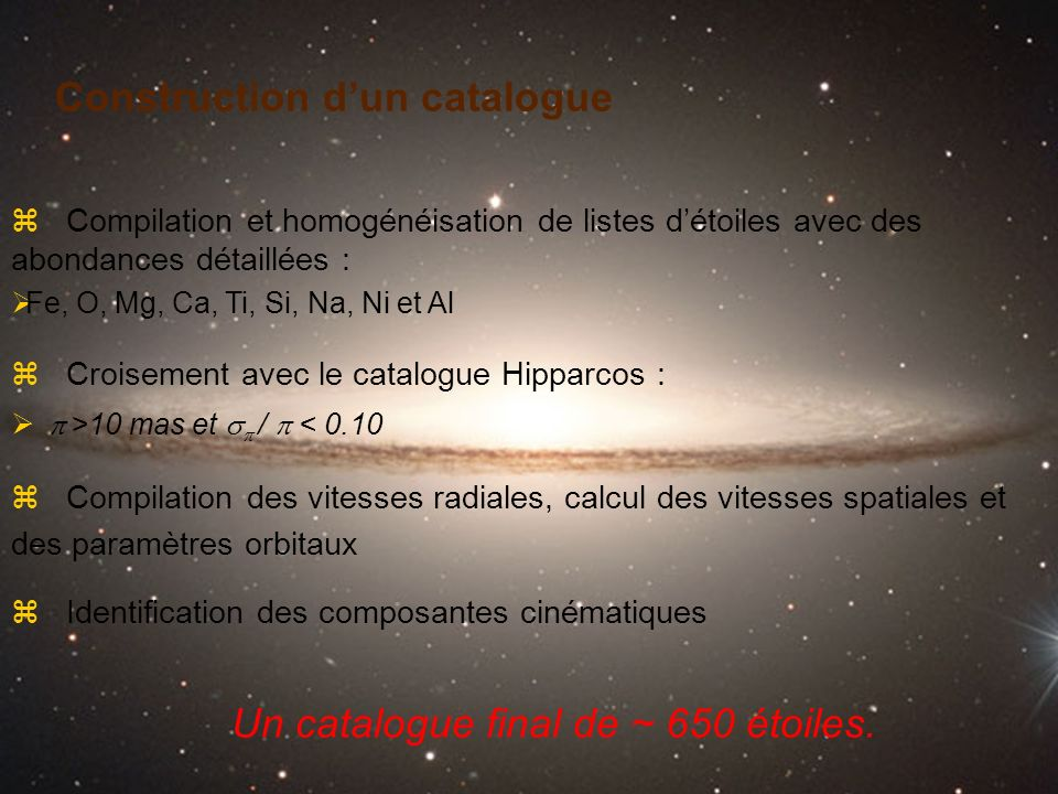 Construction d'un catalogue