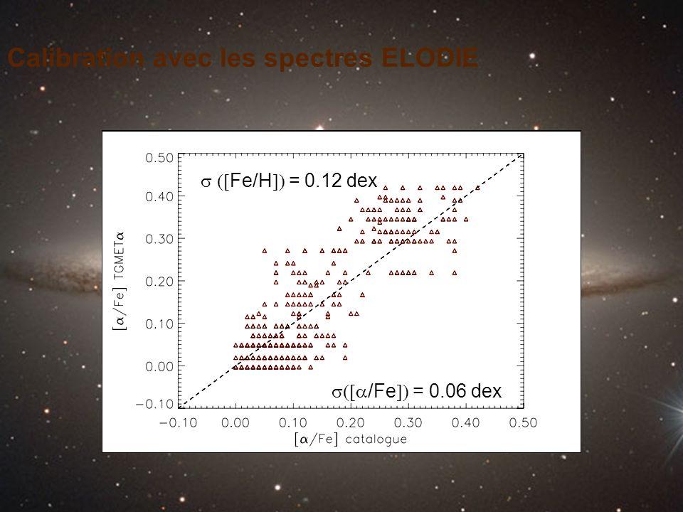 Calibration avec les spectres ELODIE