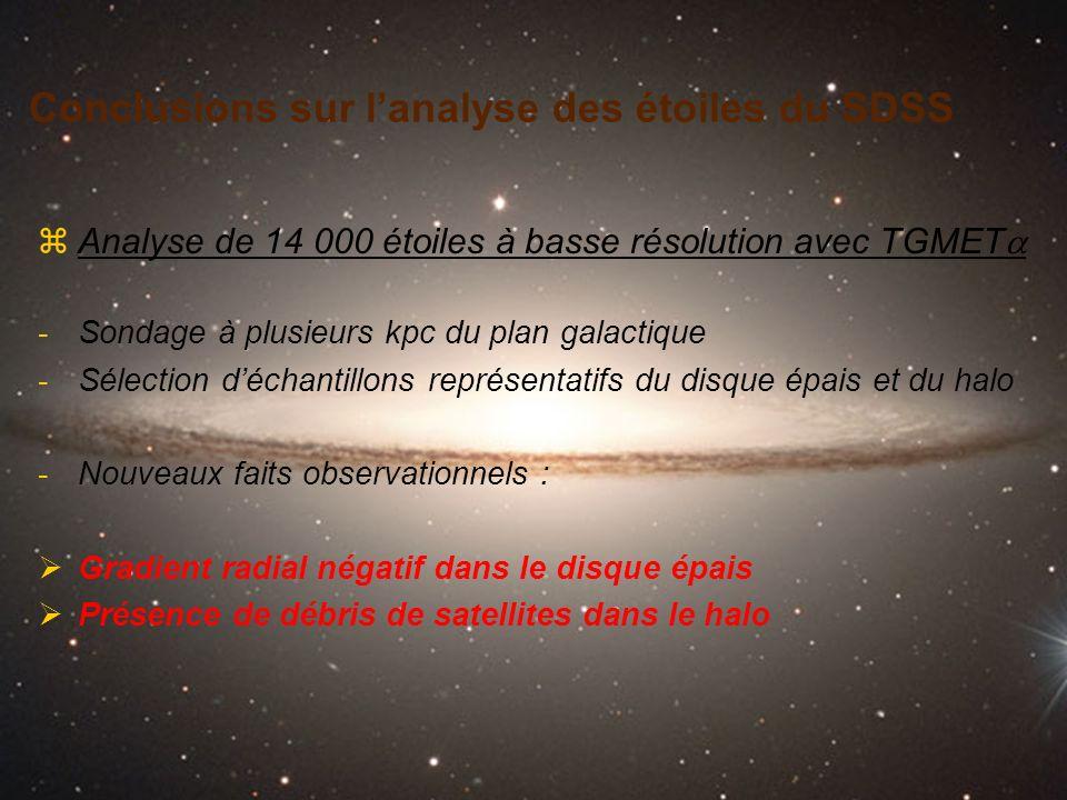 Conclusions sur l'analyse des étoiles du SDSS