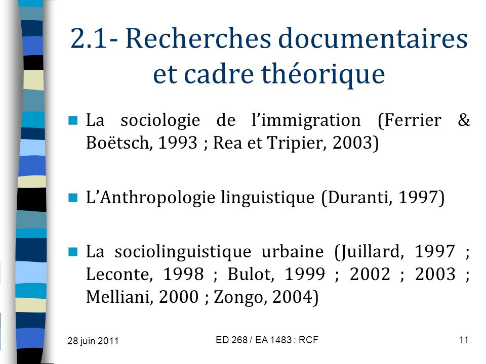 2.1- Recherches documentaires et cadre théorique