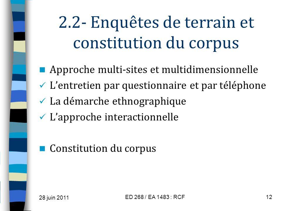 2.2- Enquêtes de terrain et constitution du corpus