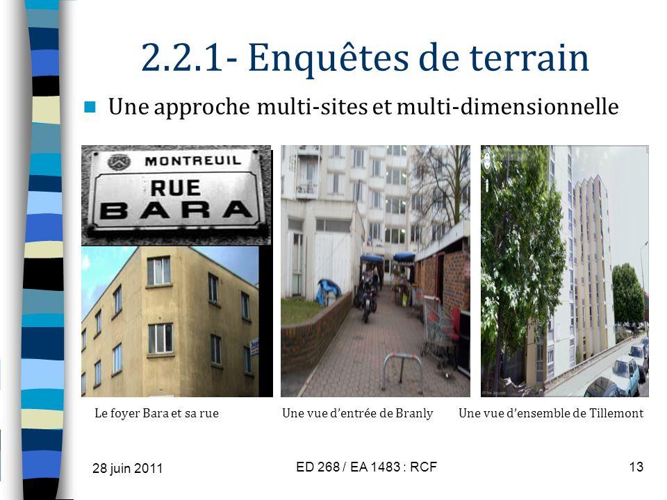 2.2.1- Enquêtes de terrain Une approche multi-sites et multi-dimensionnelle.