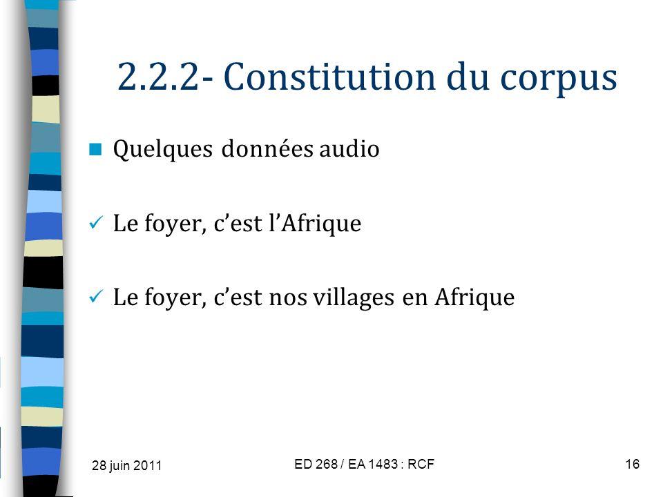 2.2.2- Constitution du corpus