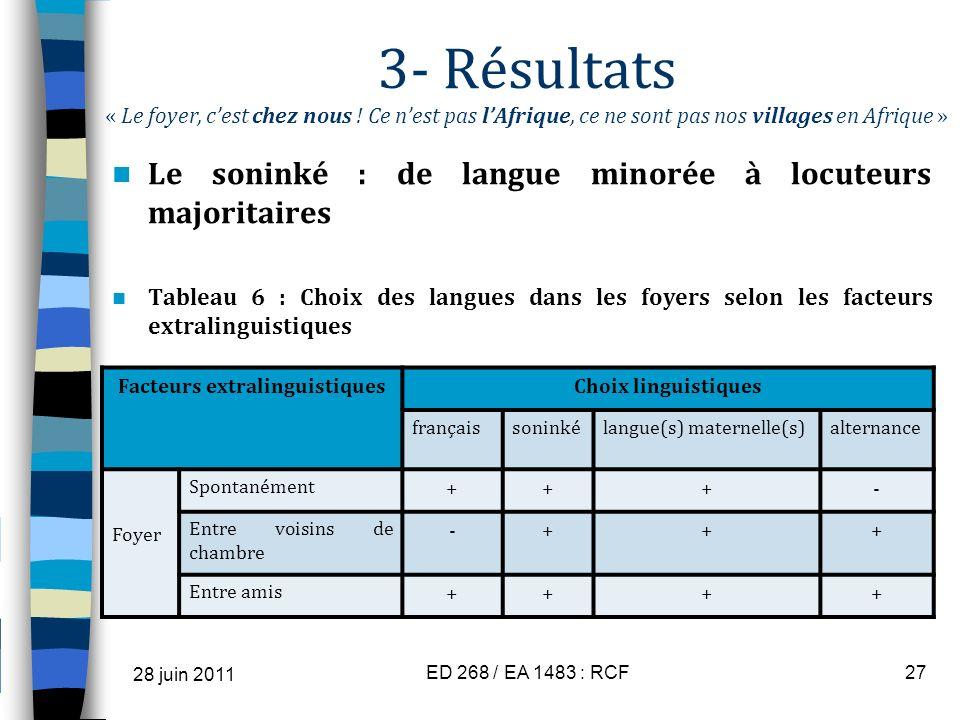 Facteurs extralinguistiques