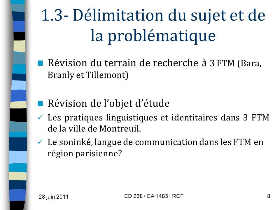 1.3- Délimitation du sujet et de la problématique