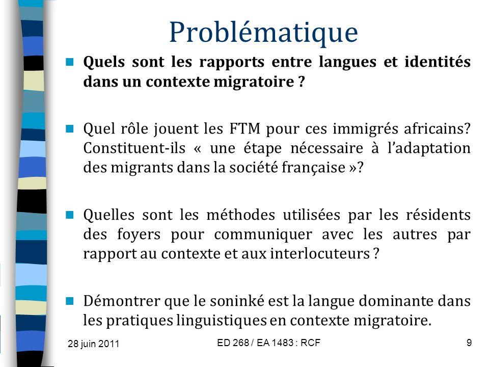 Problématique Quels sont les rapports entre langues et identités dans un contexte migratoire