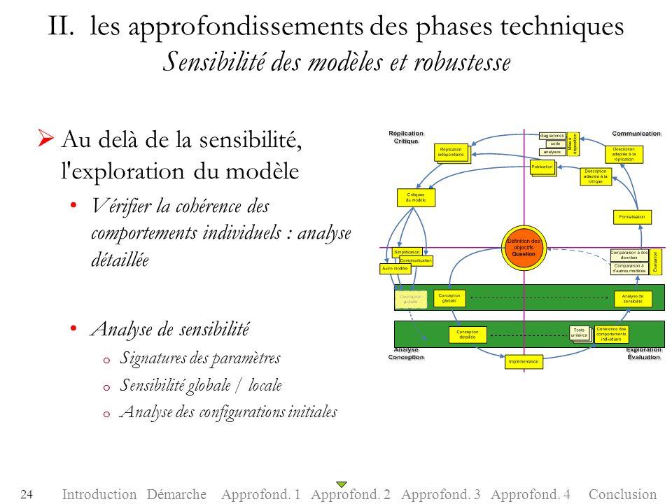 II. les approfondissements des phases techniques Sensibilité des modèles et robustesse