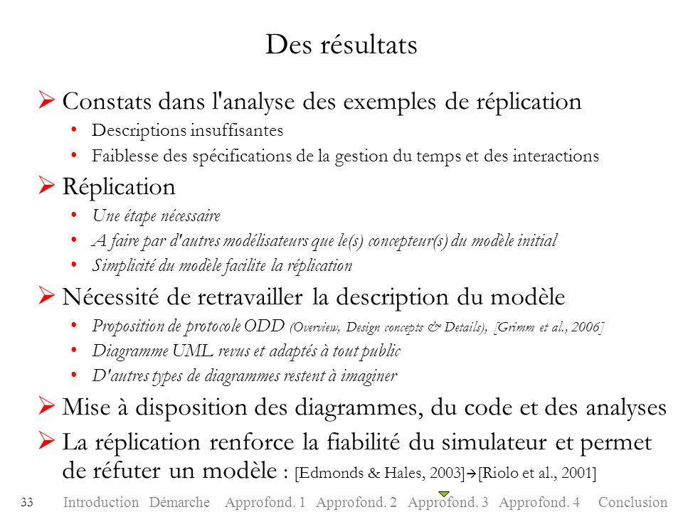 Des résultats Constats dans l analyse des exemples de réplication