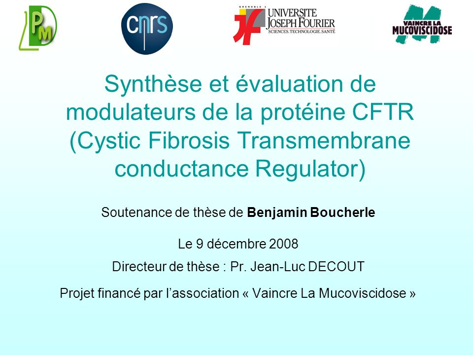 Synthèse et évaluation de modulateurs de la protéine CFTR (Cystic Fibrosis Transmembrane conductance Regulator)